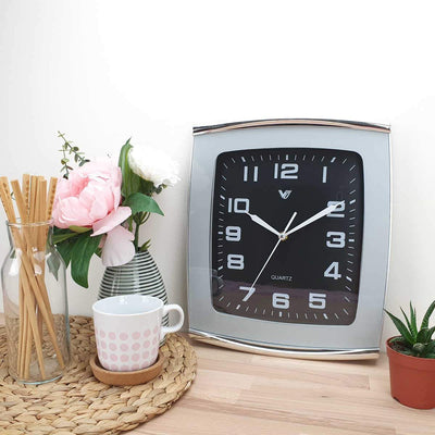 Victory Jaxon Curved Rectangle Wall Clock Black 34cm CWH 260Black 2