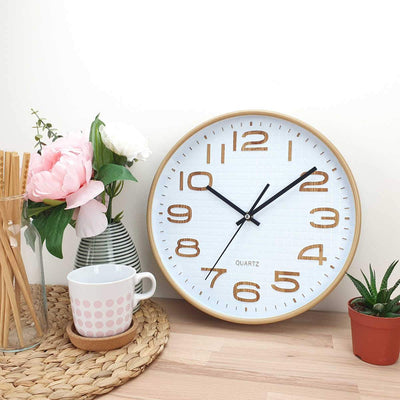 Victory Julian Waffle Pattern Wall Clock Brown 30cm CWH 6295 2
