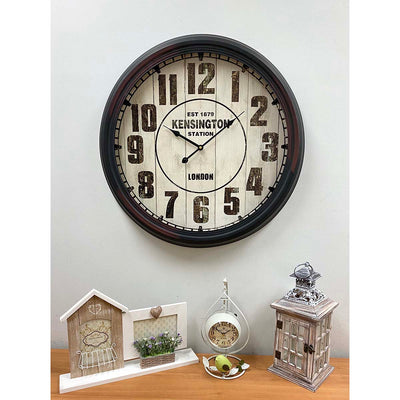 Victory Kensington Station Extra Large Vintage Metal Wall Clock Black 62cm CHH 333 Lifestyle