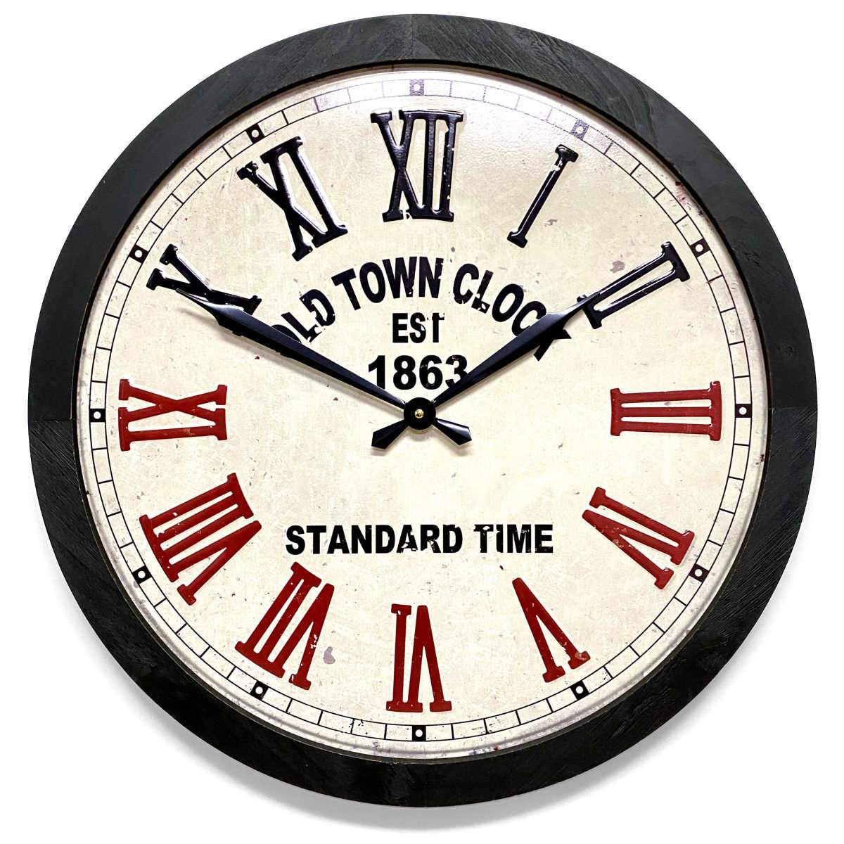 Victory Old Town Stamped Iron Wood Frame Roman Wall Clock 60cm CHH-991 1