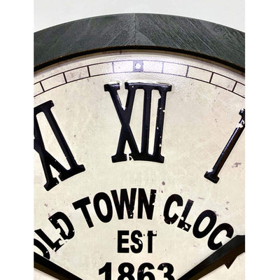 Victory Old Town Stamped Iron Wood Frame Roman Wall Clock 60cm CHH-991 3