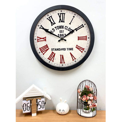 Victory Old Town Stamped Iron Wood Frame Roman Wall Clock 60cm CHH-991 5