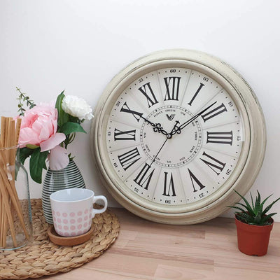 Victory Paisley Vintage Roman Wall Clock Cream 40cm CWH 6195White 2
