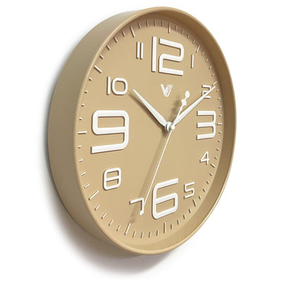 Victory Piper 3D Art Numbers Wall Clock Tan 30cm CJH-6450-CRE 3