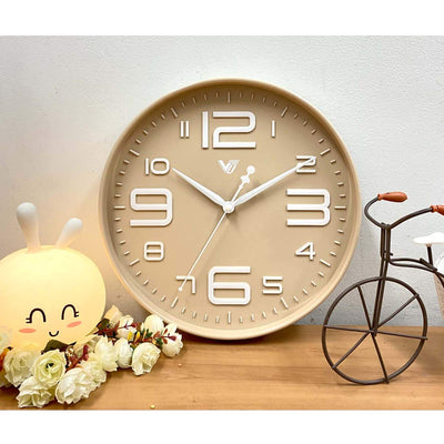 Victory Piper 3D Art Numbers Wall Clock Tan 30cm CJH-6450-CRE 6