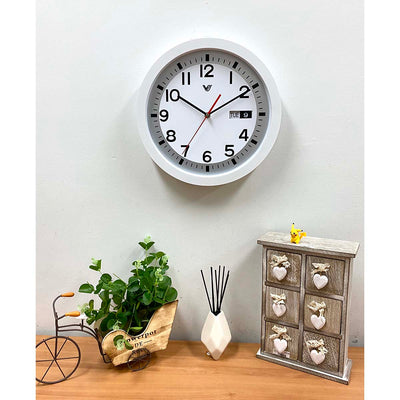 Victory Rory Calendar Day Date Wall Clock White 34cm CNS 139 W Lifestyle