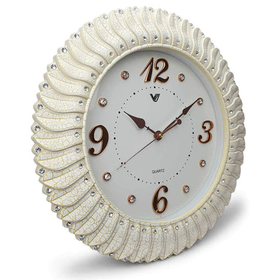 Victory Savannah Bling Wall Clock Off White 45cm CXB 2928W 1
