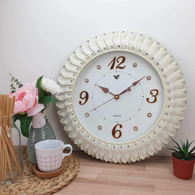 Victory Savannah Bling Wall Clock Off White 45cm CXB 2928W 2