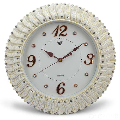 Victory Savannah Bling Wall Clock Off White 45cm CXB 2928W 3