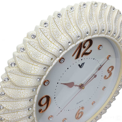 Victory Savannah Bling Wall Clock Off White 45cm CXB 2928W 5