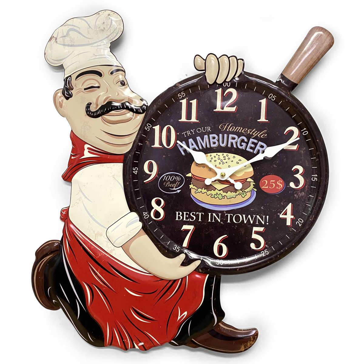 Victory Try Our Hamburgers Stamped Iron Wall Clock 54cm CHH-A1 1