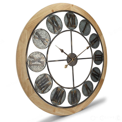Victory Aramis Floating Roman Discs Metal Wood Wall Clock 80cm CEW-1907 Angle
