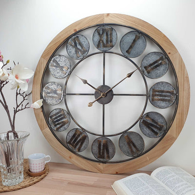 Victory Aramis Floating Roman Discs Metal Wood Wall Clock 80cm CEW-1907 Lifestyle