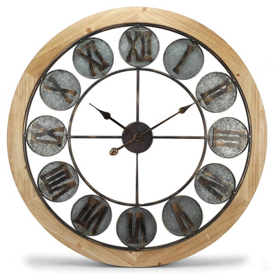 Victory Aramis Floating Roman Discs Metal Wood Wall Clock 80cm CEW-1907 Front