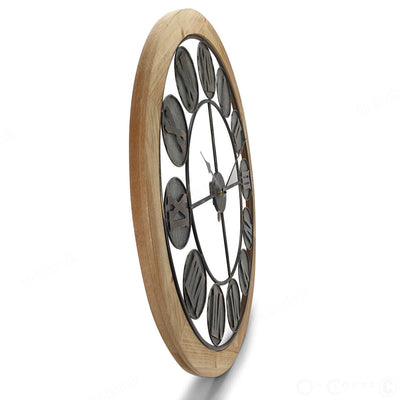 Victory Aramis Floating Roman Discs Metal Wood Wall Clock 80cm CEW-1907 Side