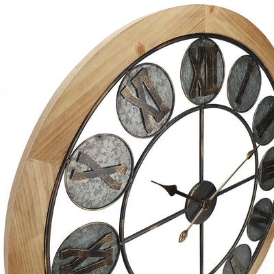 Victory Aramis Floating Roman Discs Metal Wood Wall Clock 80cm CEW-1907 Zoom1
