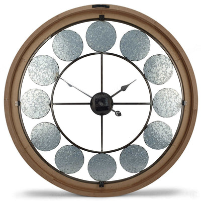 Victory Aramis Floating Roman Discs Metal Wood Wall Clock 80cm CEW-1907 Back