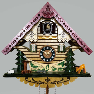 Cambridge Alva Musical Wooden Pendulum Cuckoo Clock, 29cm