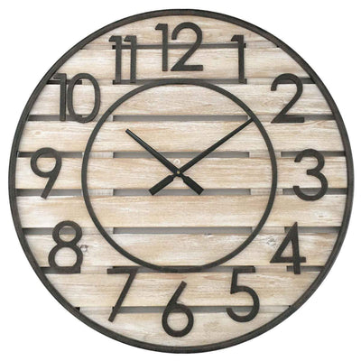 Yearn Beach House Wood Panels and Metal Wall Clock 70cm 11744CLK 1