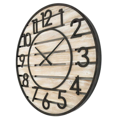 Yearn Beach House Wood Panels and Metal Wall Clock 70cm 11744CLK 2