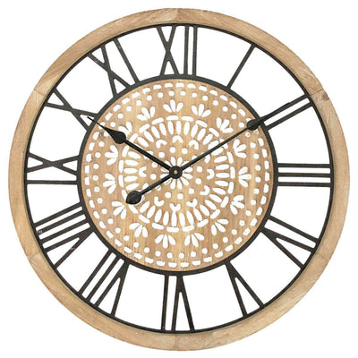 Yearn Carved Industro Hamptons Wall Clock 60cm 11741CLK 1