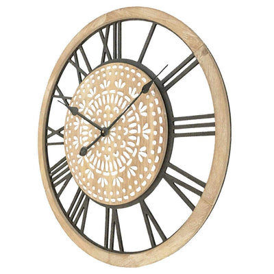 Yearn Carved Industro Hamptons Wall Clock 60cm 11741CLK 2