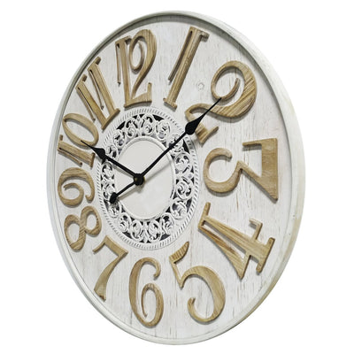 Yearn French Scandi Flair Distressed Wooden Wall Clock White 60cm 11737CLK 1