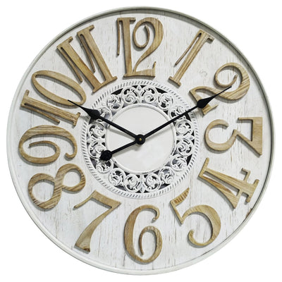 Yearn French Scandi Flair Distressed Wooden Wall Clock White 60cm 11737CLK 2