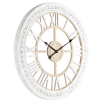 Yearn Hamptons Moulded Floating Wooden Wall Clock Distressed White 73cm 91954CLK 1