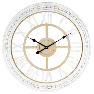 Yearn Hamptons Moulded Floating Wooden Wall Clock Distressed White 73cm 91954CLK 3