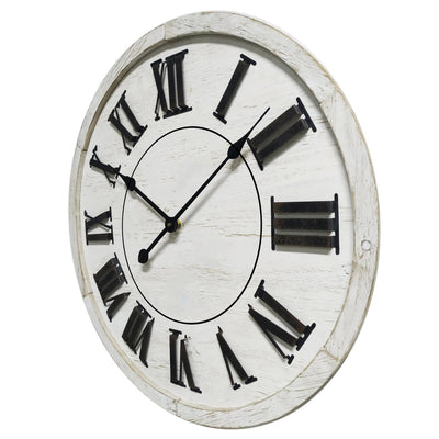 Yearn Hamptons Raised Roman Numerals Wall Clock White 60cm 11733CLK 1