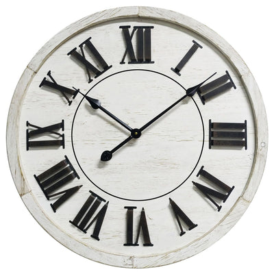 Yearn Hamptons Raised Roman Numerals Wall Clock White 60cm 11733CLK 2