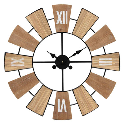 Yearn Nordic Mix Timber Tones Wood and Metal Wall Clock 70cm 92001CLK 1
