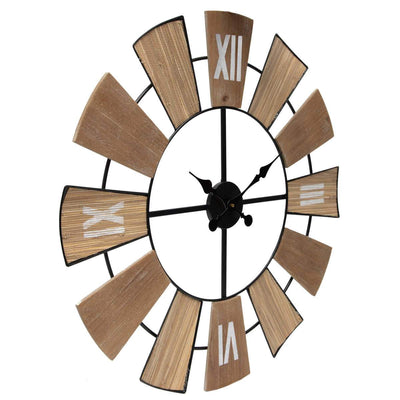 Yearn Nordic Mix Timber Tones Wood and Metal Wall Clock 70cm 92001CLK 2