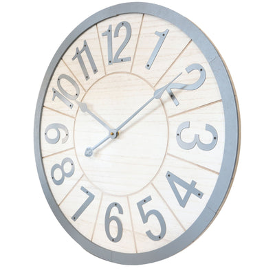 Yearn Scandi Grey and Natural Wooden Wall Clock 60cm 11743CLK 1