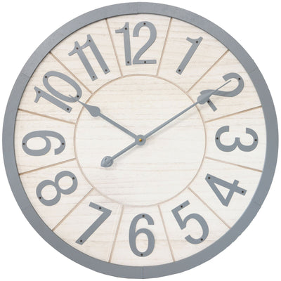Yearn Scandi Grey and Natural Wooden Wall Clock 60cm 11743CLK 2