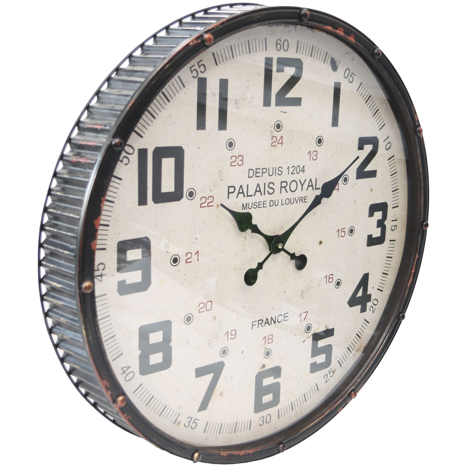 Yearn Vintage Palais Royal Metal Wall Clock Black 61cm 24328CLK 1