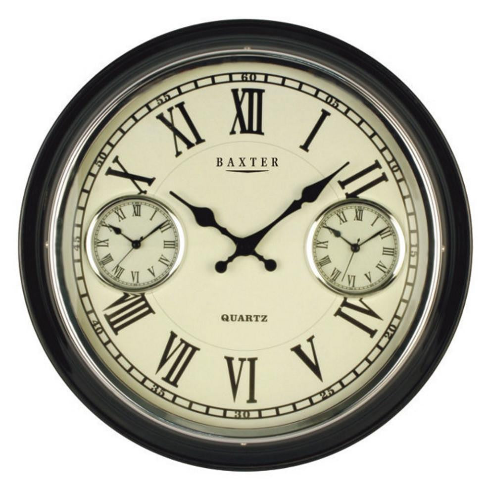 Baxter Vintage 3 Time Zone Wall Clock Black 41cm PW6615-4