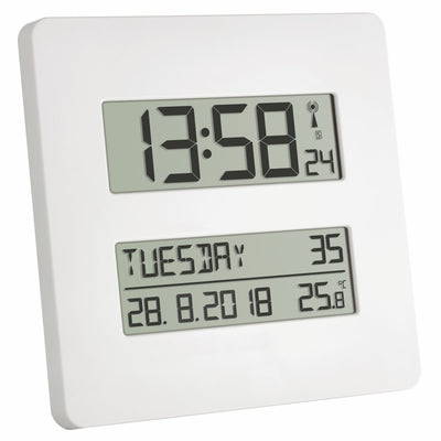 TFA Temperature Day Date Digital Alarm Wall or Table Clock, 20cm