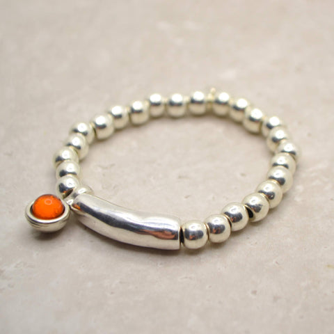 Silver bracelet with coloured stone