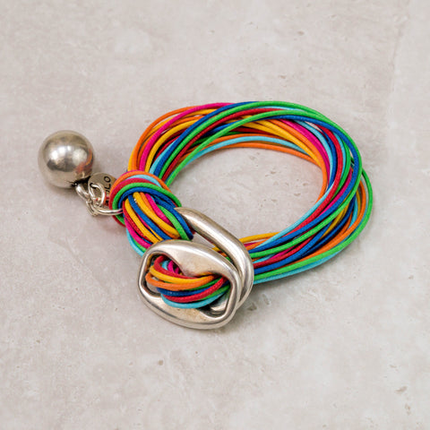 Multicolour Cotton Bracelet with Ball Charm