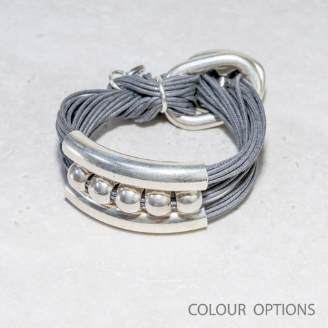 Cotton Strand & Silver Tube Bracelet