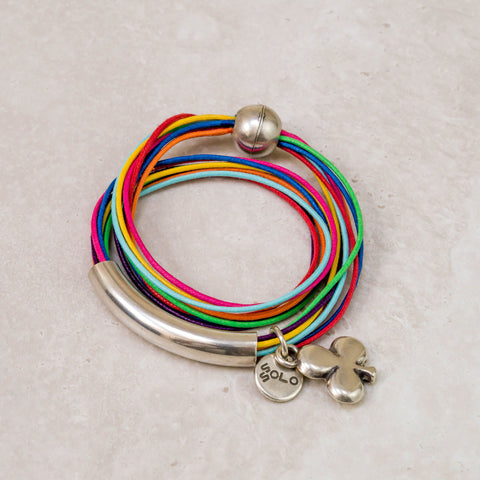 Multi  Colour Wrap with Clover Charm Bracelet