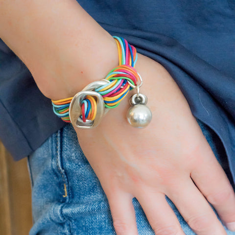 Multi-Colour Cotton Bracelet with Ball Charm