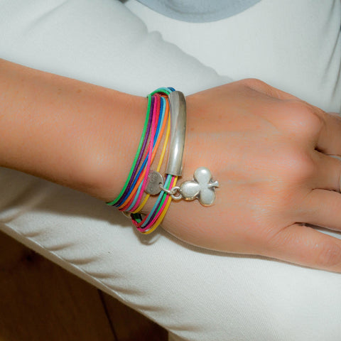Multi -Colour Wrap with Heart Charm Bracelet