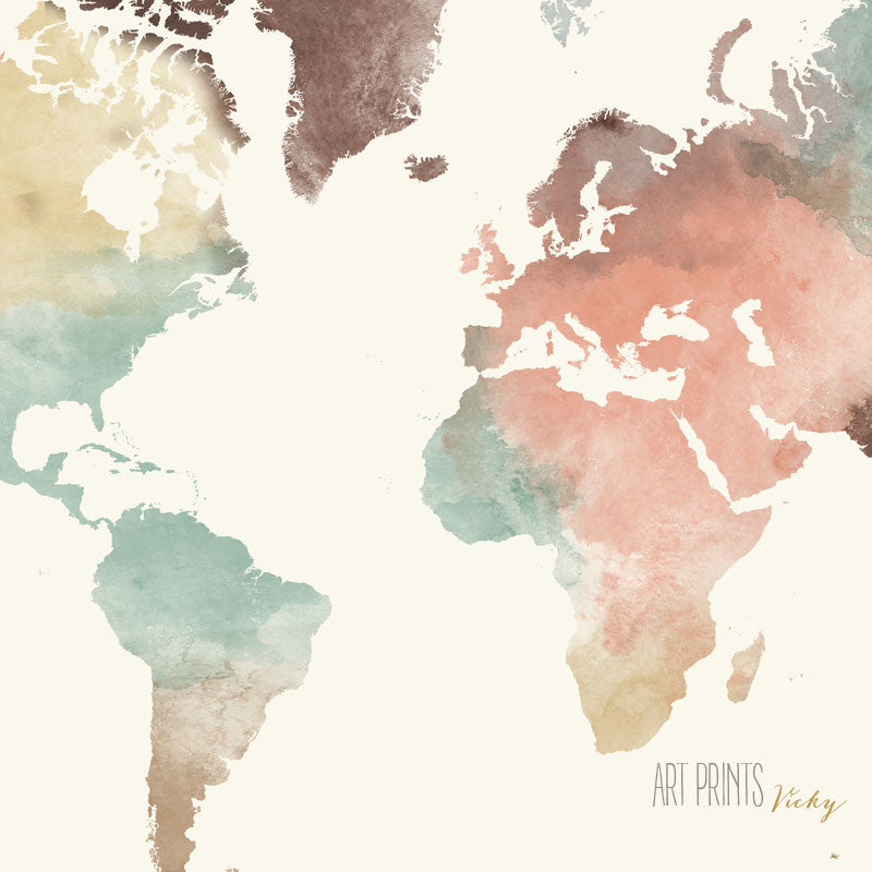 World map poster pastel world map poster pastel detail artprintsvicky gumiabroncs Image collections