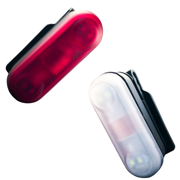 Two motion powered safety light for runners with red and white LEDs