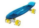 The Ridge Blaze Transparent Mini Cruiser in blue w LED light up wheels in 5 colours
