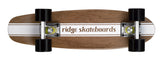 "Ridge 22"" Maple Wood Mini Cruiser Board: Number Four Dark Dye with 12 wheel colours"