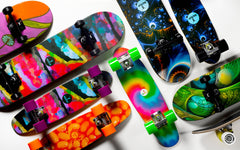 "Ridge Motif 22"" Mini Maple Cruiser Completes in FriedEgg, BakedBean, Lizard, Universe, Mushrooms, Colourflage and Tiedye."